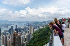 Victoria Peak trascura l'orizzonte di Hong Kong immagine stock