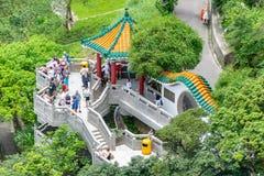 Victoria Peak trascura l'orizzonte di Hong Kong fotografie stock libere da diritti