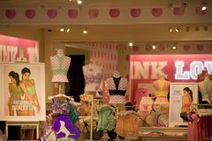 Victoria Pink under ware store. Victoria Secret store with beautiful interiors in Bellevue Square Mall, Washington stock images