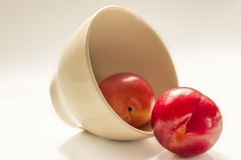 Victoria plum in a white bowl Royalty Free Stock Images