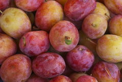 Victoria plums. Pile of ripe fresh victoria plums on an open market fruit and vegetable stall Royalty Free Stock Photo