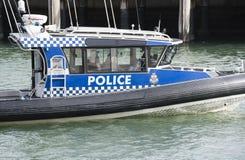 Victoria Police boat in Melbourne. Melbourne, Australia - Nov 3, 2015: Close-up view of a Victoria Police boat patrolling in Melbourne, Australia stock photo