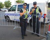 Victoria Police Constable fournissant la sécurité au parc olympique à Melbourne photos stock