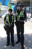 Victoria Police Constable fournissant la sécurité au parc olympique à Melbourne pendant l'open d'Australie 2019 photo libre de droits