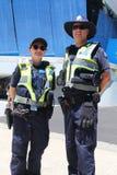 Victoria Police Constable fournissant la sécurité au parc olympique à Melbourne pendant l'open d'Australie 2019 image stock