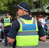 Victoria Police Constable fournit la s?curit? pendant le d?fil? 2019 de jour de l'Australie ? Melbourne images libres de droits