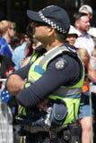 Victoria Police Constable fournit la s?curit? pendant le d?fil? 2019 de jour de l'Australie ? Melbourne photo stock