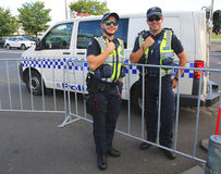 Victoria Police Constable providing security at Olympic Park in Melbourne. MELBOURNE, AUSTRALIA - JANUARY 23, 2016: Victoria Police Constable providing security Stock Photos