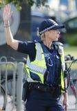 Victoria Police Constable som ger säkerhet på olympiskt, parkerar i Melbourne Arkivfoton