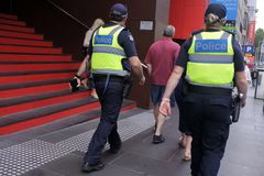 Victoria police officers patrolling in Melbourne Victoria Australia. Victoria police officer patrolling in Melbourne Victoria Australia.Victoria Police planing royalty free stock photos
