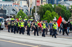 Victoria Police officers on Flinders Street in Melbourne Royalty Free Stock Photography