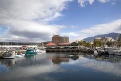 Victoria Port i Hobart Harbor - Tasmanien arkivfoto