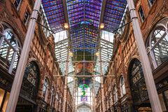 Victoria Quarter's Symmetry Color Glass Ceiling. Leeds, UK - March 27, 2015: Victoria Quarter's Stained Glass Ceiling. The Quarter was restored during which a stock images