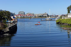 Victoria's Fisherman's wharf. Victoria,Canada-June 30,2015: kayakers at Fisherman's wharf Royalty Free Stock Photography