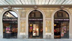 Victoria`s Secret Store in Florence, Italy. Florence, Italy - February 14, 2017: Victoria`s Secret is the leading retailer of lingerie and beauty products Stock Photo