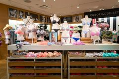 Victoria's Secret store. NEW-YORK - MARCH 15, 2016: interior of Victoria's Secret store. Victoria's Secret is the largest American retailer of women's lingerie Royalty Free Stock Images
