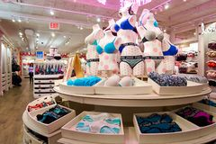 Victoria's Secret store. NEW-YORK - MARCH 15, 2016: interior of Victoria's Secret store. Victoria's Secret is the largest American retailer of women's lingerie Royalty Free Stock Photography