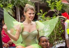 Victoria, Seychellen - Februari 9, 2013: Een jonge Kaukasische wome Royalty-vrije Stock Afbeeldingen