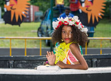 VICTORIA, SEYCHELLES – April 26, 2014:Creole girl at the Carna Stock Photos