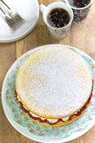 Victoria Sponge Cake. With coffee Stock Images