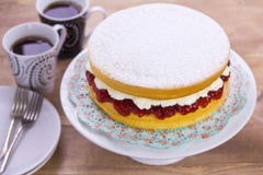 Victoria Sponge Cake. With coffee Royalty Free Stock Images