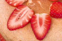 Victoria sponge cake with fresh strawberries close up. Royalty Free Stock Photos
