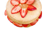 Victoria sponge cake with fresh strawberries on white background Stock Photos