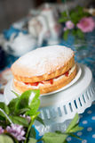Victoria Sponge Cake. With Whipped Cream and Strawberries Stock Image