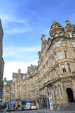 Victoria Street historic city view with traffic and building in old town Edinburgh Stock Photo