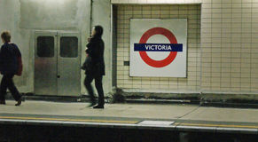 Victoria subway. London, UK - February 23, 2016: Inside view of London Underground, train is comming in on Victoria Station, oldest underground railway in the Royalty Free Stock Image