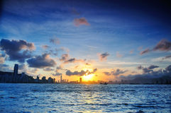 Victoria sunset. Sunset between the Victoria Harbour, Hong Kong royalty free stock photography