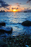 Victoria sunset. Sunset between the Victoria Harbour, Hong Kong royalty free stock images