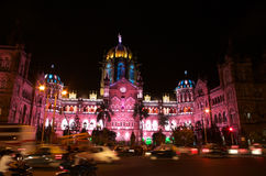 Victoria Terminus Celebration Lighting-v Royalty Free Stock Image