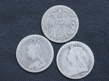 Victoria, threepence, silver, coins. Three Queen Victoria silver threepences from the 19th century (from 1873, 1891, 1898). Concept for history of the British stock photography