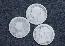 Victoria, threepence, silver, coins. Three Queen Victoria silver threepences from the 19th century (from 1873, 1891, 1898). Concept for history of the British stock image