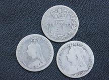 Victoria, threepence, zilver, muntstukken. Stock Fotografie