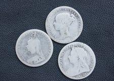 Victoria, threepence, zilver, muntstukken. Stock Afbeelding