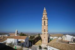 Victoria tower, Estepa, Spain. View over the town rooftops with Victoria Tower (Torre de la Victoria) in the foreground, Estepa, Seville Province, Andalusia royalty free stock photos
