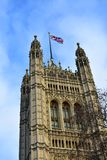 Victoria Tower with the Flag of the United Kingdom. London. City of Westminster, Houses of Parliament, Victoria Tower with the Union Jack flying. London, Great royalty free stock photography