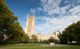 Victoria Tower and Houses of Parliament. Wide view on Victoria Tower and buildings of Houses of Parliament in Westminster, London, taken from The Victoria Tower royalty free stock images