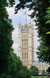 Victoria Tower, Houses of Parliament in London, UK. Houses of Parliament in London, UK. Victoria Tower viewed from the gardens royalty free stock images