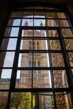 House of Lords Victoria Tower viewed through Jewel Tower window Stock Photos