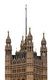Victoria Tower of Westminster Palace isolated on white background, London - UK Royalty Free Stock Photo
