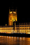 Victoria Tower. And Westminster palace in London at night stock photo