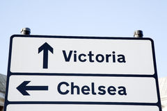 Victoria und Chelsea Street Sign, London Stockfotografie