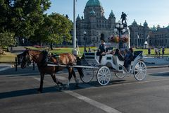 Victoria, Vancouver Island, BC, Canada August, 26th, 2018: A horse drawn carriage with tourists passes the parliament building in. Victoria, Vancouver Island, BC royalty free stock photo