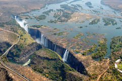 Victoria Waterfall Aerial View Falls Royalty Free Stock Photos