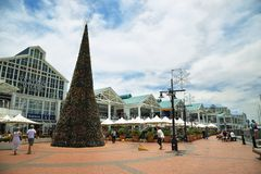 Victoria Wharf Shopping Centre in Cape Town. CAPE TOWN, SOUTH AFRICA-DECEMBER 7: Entrance of Victoria Wharf Shopping Centre with a big Christmas tree on December Stock Photography