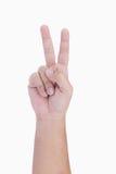 Victoria y paz humanas de la demostración de la mano Foto de archivo libre de regalías
