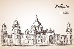 Victoria-zaal - Schets van Indische stad Kolkata Stock Afbeeldingen